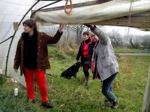 Anne Da Silva et Hilka Hunt dans une des serres de Locarn, accompagnées par la fourmi-e Cynthia.